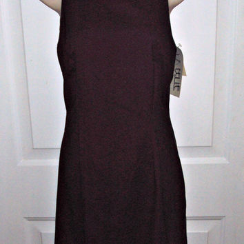 La Belle Sheath Maroon Stretch Fitted Spaghetti Straps Dress Size 9 Vintage USA