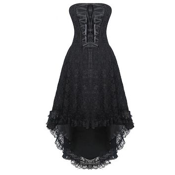 Steampunk Corset Dress Gothic Over bust Lace Up Vintage Bustier Top Corsets and Bustiers Black Halloween Costume