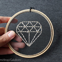 "Diamond metallic - Embroidery in wooden hoop 5"" - Minimalist - Geometric"