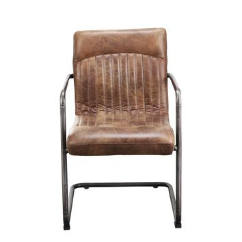 Ansel Dining Arm Chair - Light Brown Distressed Top Grain Leather (set of 2)
