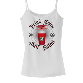 Red Cup Drink Coffee Hail Satan Spaghetti Strap Tank by