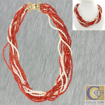 Vintage Estate 14k Yellow Gold Multi Strand Pearl Red Coral Choker Necklace J8