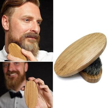 8cm Natural Boar Bristle Beard Brush For Men Bamboo Face Massage That Works Wonders To Comb Beards and Mustache ping