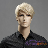 "6"" Short Wavy Boycuts Synthetic Wigs for Men Basic Cap Blonde"