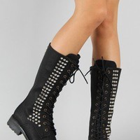 Wild Diva Lounge Timberly-38A Studded Military Lace Up Boot