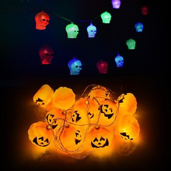 Pumpkins/Skull LED String Lights Lanterns Lamp Halloween Props Haunted House Bar KTV Yard Scary Lattern DIY Home Party Supplies