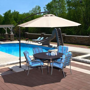 Island Umbrella Santiago 10 ft. Octagonal Cantilever Patio Umbrella in Champagne Olefin-NU6400CH - The Home Depot