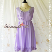 Lilac Violet Party Dress Sleeveless Dress Beaded Lace Hemmed Purple Party Cocktail Dress Lilac Bridesmaid Dress Prom Dress Sundress US 4-8