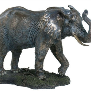 Elephant with Trunk Up Bronze Large Statue - 8340