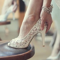 Bling Bling Flowers Wedding Shoes Pretty Stunning Heeled Bridal Dress Shoes Peep Toe W