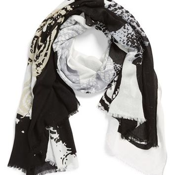 Women's Natasha Couture Oversize Snake Graphic Scarf - Black