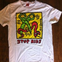 """KEITH HARRIS NYC Mens Vintage 80's NWOT  """"Stop Aids"""" T-Shirt. Size XXL."""