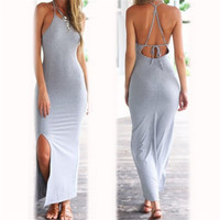 Elegant Women Dress Backless Halter Bodycon Maxi Long Dress Fashion Dress