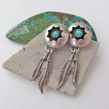Turquoise & Silver Earrings with Dangling Feathers, Native American Jewelry, Vintage Sterling Silver Earrings, Southwestern Indian Jewelry