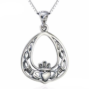 Claddagh Pendant Necklace Sterling Silver & Crystal