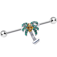 Green Yellow Gem Taste of the Tropics Palm Tree Industrial Barbell | Body Candy Body Jewelry