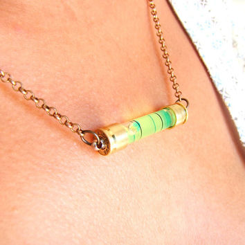 Torpedo level necklace , vial with bullet shell on gun metal chain,alcohol tester