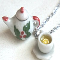 Christmas tea set necklace