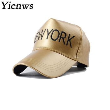 Yienws Leather Cap Women New York Letter Baseball Cap Paris OKYO Up Light Casquette De Marque Golden Black C365