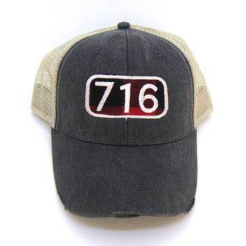 Area Code Hat - Distressed Snapback Trucker Hat - Area Code Buffalo Check Patch