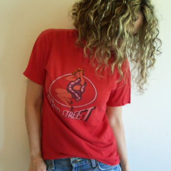 Vintage Distressed 80s 42nd Street Broadway Musical Pin Up Girl T Shirt