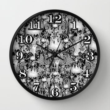 Victorian gothic lace skull pattern Wall Clock by Kristy Patterson Design