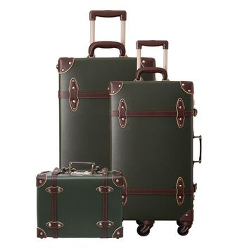Vintage Suitcase Carry On Luggage set Hardside Rolling Spinner Retro Style for Travel Trunk
