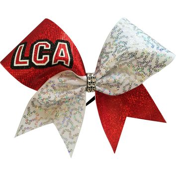White sequins and holographic fabric with glitter LCA. You can leave a note with your team name