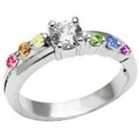 Female Lesbian Love Step CZ Rainbow Ring. Female LGBT Rainbow Pride Jewelry. Gay Wedding Marriage Engagement band
