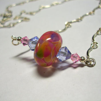 Pink and Light Blue Glass Bead Necklace
