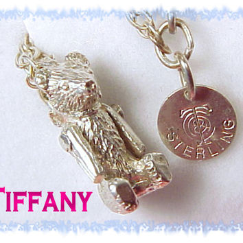 TIFFANY & Co ~ RARE 1982 Sterling Silver Teddy Bear AWARD Necklace - Arms Move Moveable