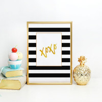 Xoxo Print,Friends Gift,Modern Wall Decor,PRINTABLE Art,XOXO SIGN,Gossip Girl,Black And Gold,Gold Foil,Typography Print,Gift For Her