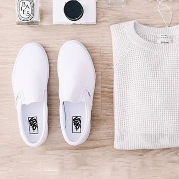 White VANS Slip-On Old Skool Flats Shoes Sneakers Sport Shoes