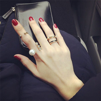 New Arrival Shiny Stylish Jewelry Gift Rivet Pearls Ring [6586347527]