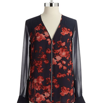 Vince Camuto Zip Front Blouse