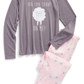 Girl's PJ Salvage 'Sheepy Time' Two-Piece Pajamas