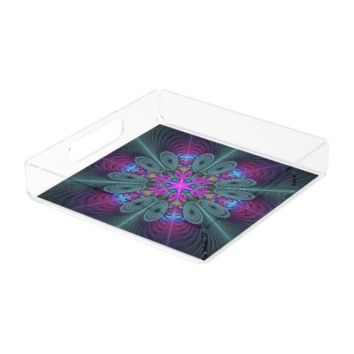 Mandala From Center Colorful Fractal Art With Pink Serving Tray