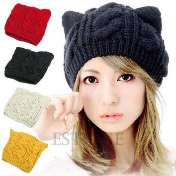 CREYCI7 Women Winter Beanie Devil Horns Cat Ear Crochet Braided Knit Hot Wool Cap Hat-Y107