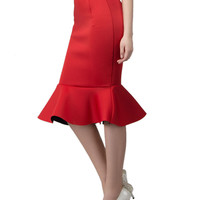 Red Midi Pencil Skirt With Flounce Hem