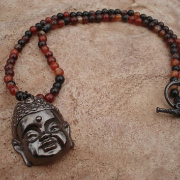 Buddha Necklace of Black Pewter with Banded Agate Beads and Black Pewter Fancy Toggle/Clasp, For Her