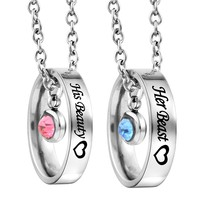 Rhinestone Her Beauty His Beast Heart Engraved Ring Pendant Couple Necklace Set