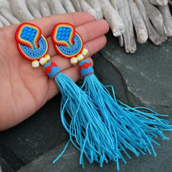Long Neon Blue Soutache Earrings-Bue Red Tassel Earrings-Extra Long Tassel Earrings-Ethnic Boho Earrings-Beaded Dangle Statement Earrings-