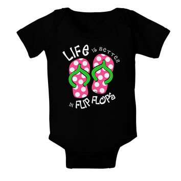 Life is Better in Flip Flops - Pink and Green Baby Bodysuit Dark