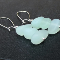 Seafoam Sea Glass Earrings:  Mint Green and Silver Beach Pebble Jewelry, Pierced Wire Dangle Earrings
