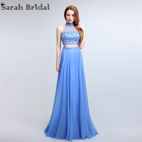 Sexy Two Pieces Halter Cut Back Prom Dresses New Real Photo Crystal Beaded Chiffon Long Party Gowns Vestidos De Noche LX173
