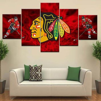 5 Pieces Chicago Blackhawks Wall Art Canvas Printed Painting Home Decor For Living Room Modern Artwork Poster Modular Pictures
