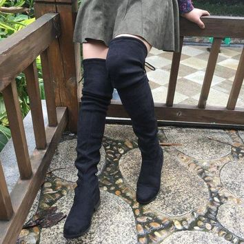 Faux Suede Thigh High Flat Boots up to Size 10.5 (26.5 cm EU 43)