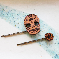 Skull Hair Pin Set - Dia De Los Muertos Candy Skull and Chrysanthemum Hair Accessories