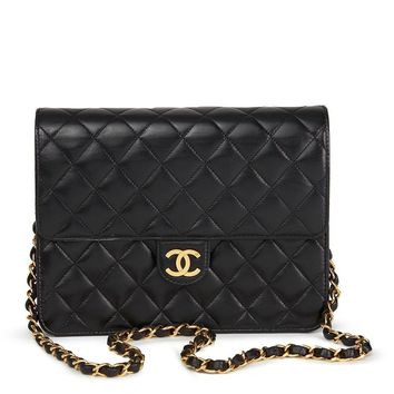 CHANEL BLACK QUILTED LAMBSKIN VINTAGE SMALL CLASSIC SINGLE FLAP BAG HB1708