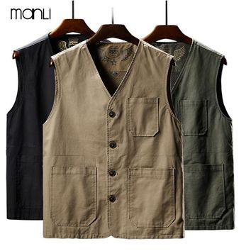 MANLI Outdoor Fishing Vests Breathable Jackets Photography Hiking Vest Waistcoat Cargo Work Coats Man Sleeveless Jacket